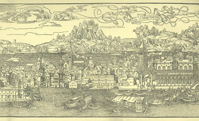 Erhard Reuwich, Veduta prospettica della città (part.), 1486, xilografia