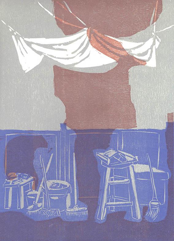 Romola, La tenda, 1998, xilografia, 350x250 mm