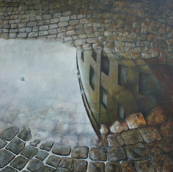 Lucio Statti, Il gioco dell'acqua I, 2006, olio su tela, 80 x 80 cm