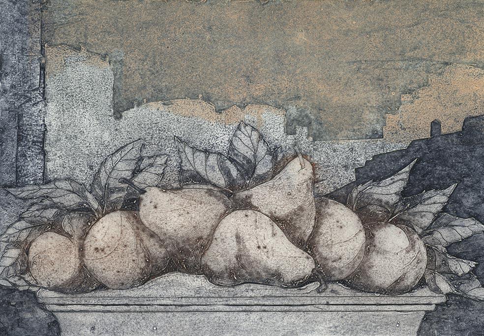 Luisa Asteriti, Tetti veneziani, 2005, incisione sperimentale su cartone cuoio