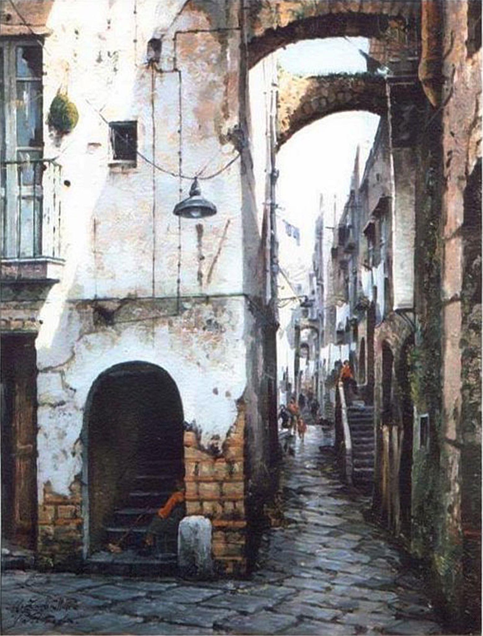 Antonio Isabettini, Via Pesterola - Rione Terra, 1996, olio su faesite, 50 x 40 cm